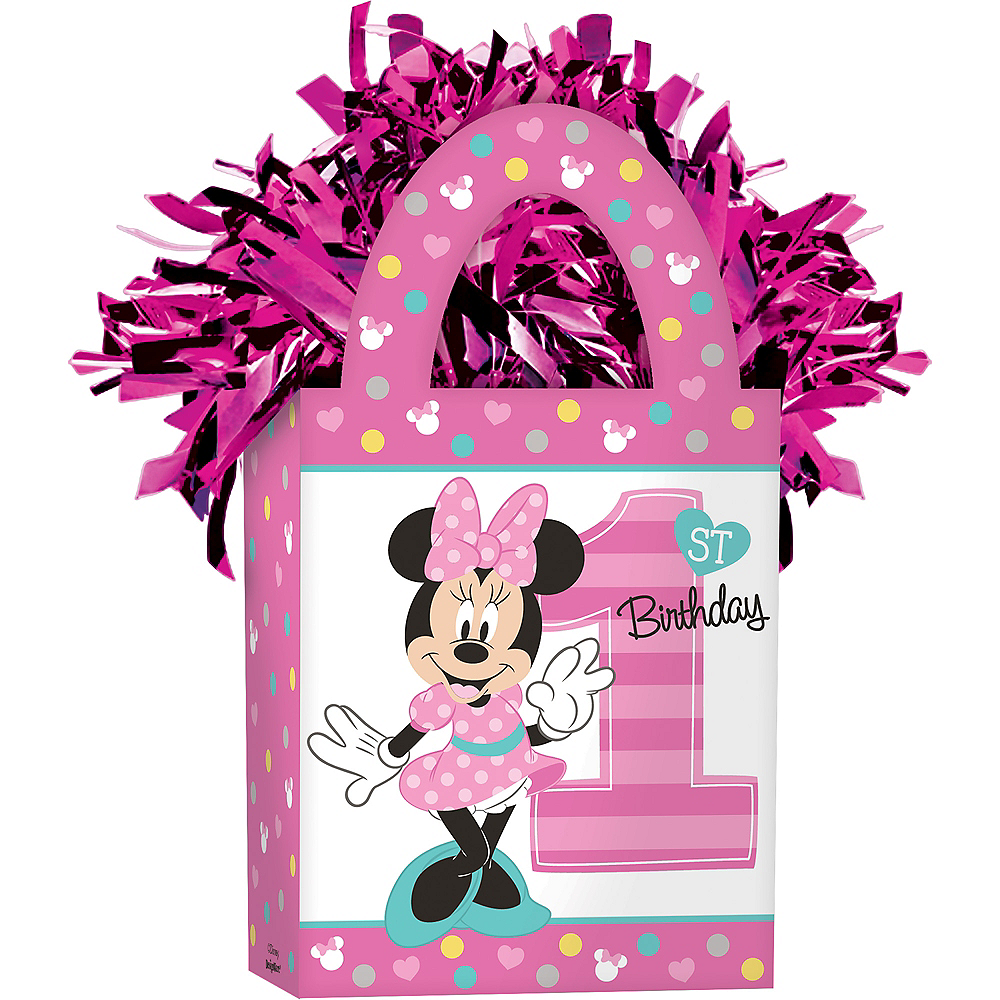 1st Birthday Pink Minnie Mouse Balloon Weight Image #1