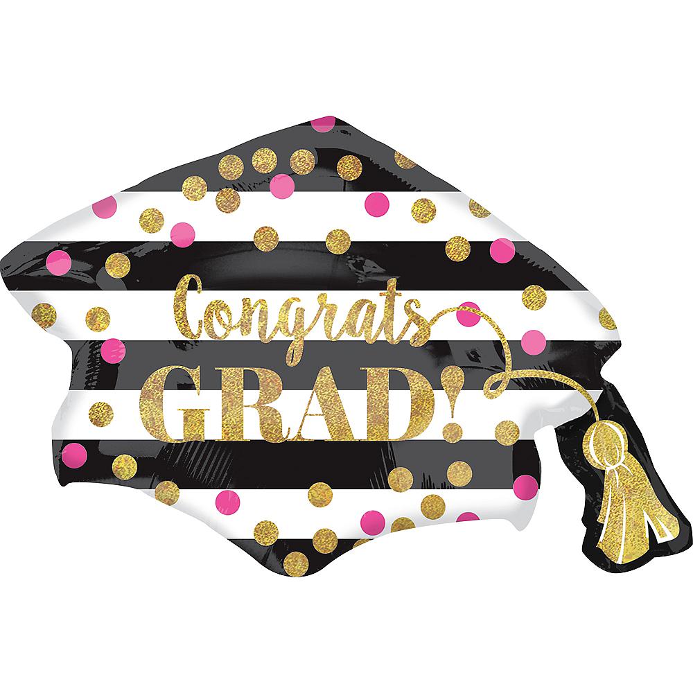 Giant Prismatic Confetti Grad Cap Graduation Balloon, 31in Image #1