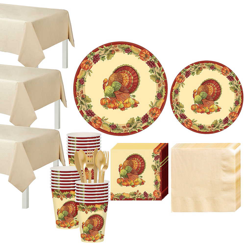Joyful Thanksgiving Tableware Kit for 50 Guests Image #1