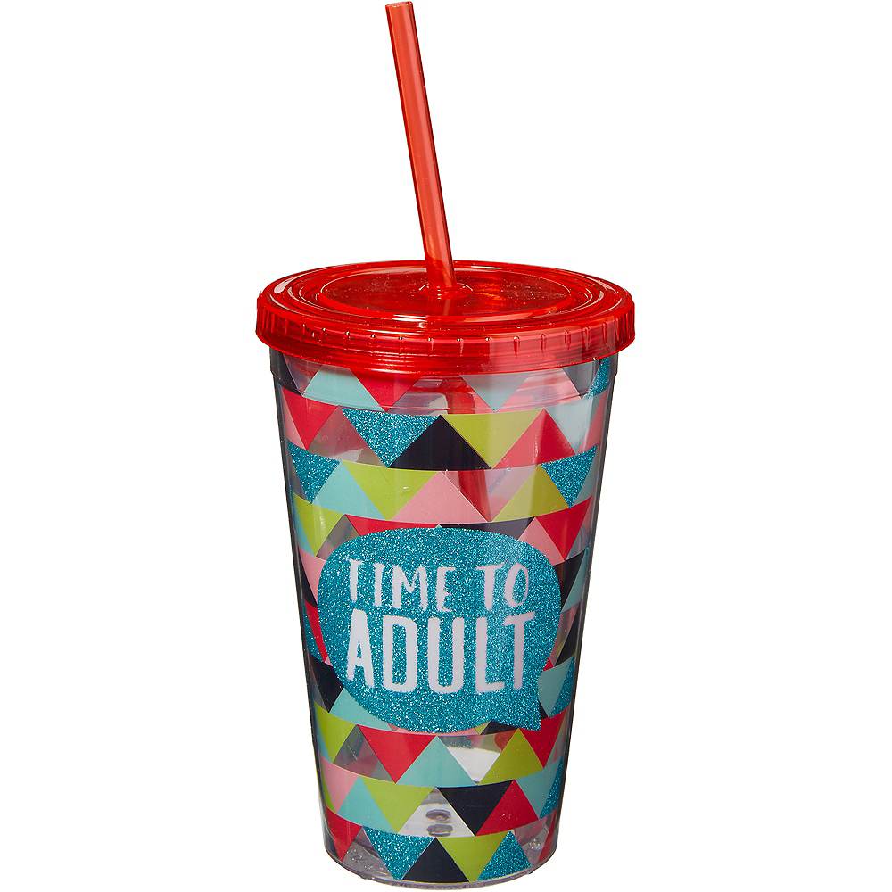 Time to Adult Double Wall Tumbler with Straw Image #1