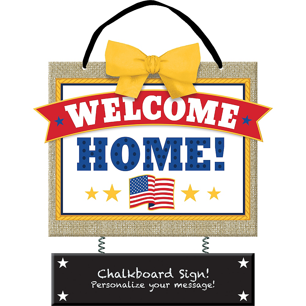American Flag Welcome Home Chalkboard Sign Image #1
