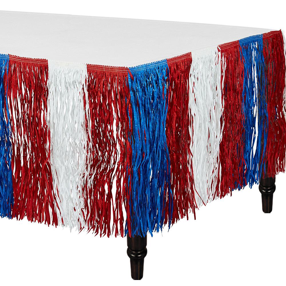 Patriotic Red, White & Blue Fringe Table Skirt Image #1