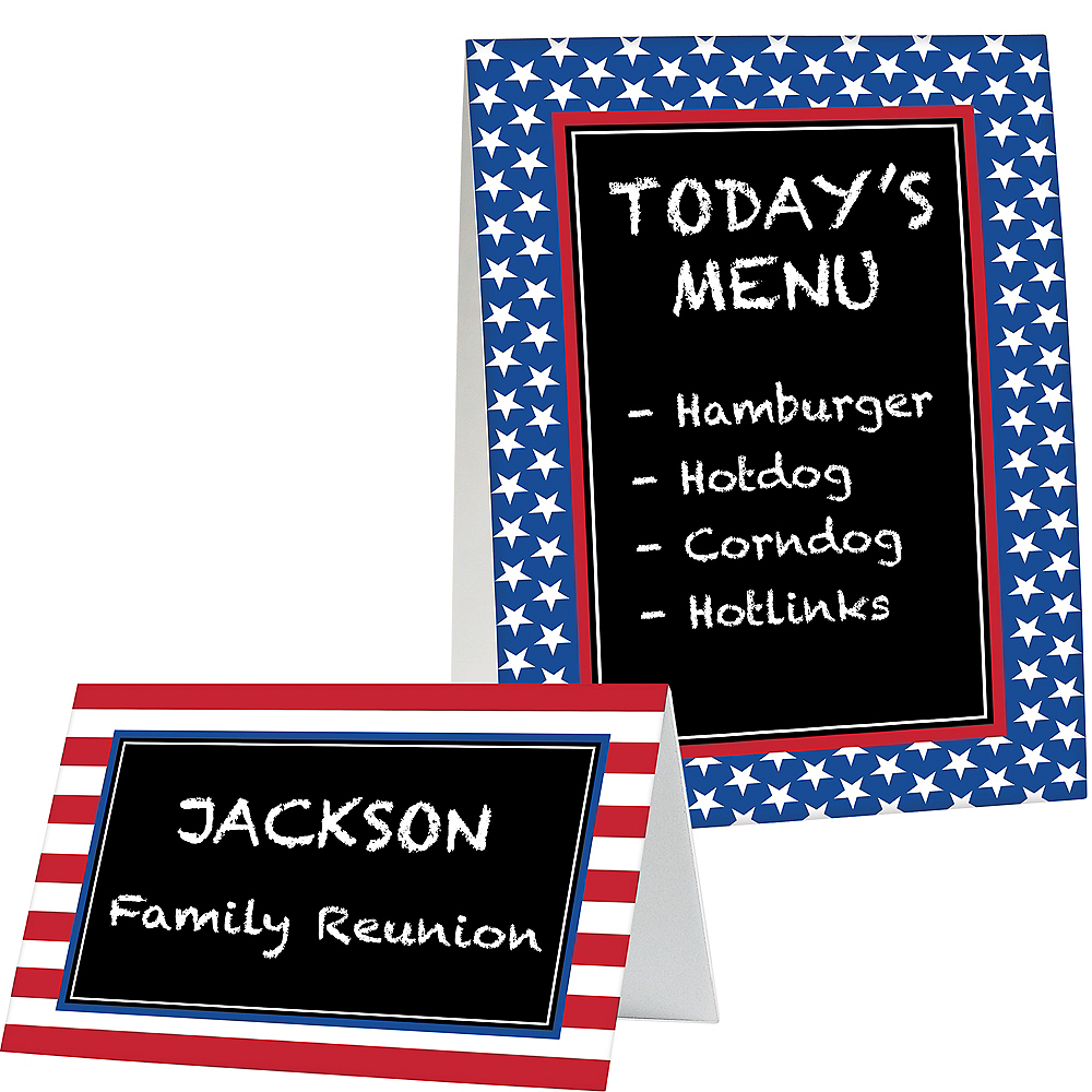 Nav Item for Patriotic Chalkboard Tent Cards 8ct Image #1