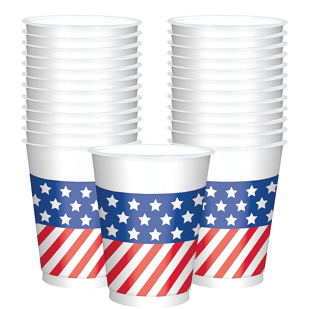 Patriotic American Flag Cups 25ct Image #1