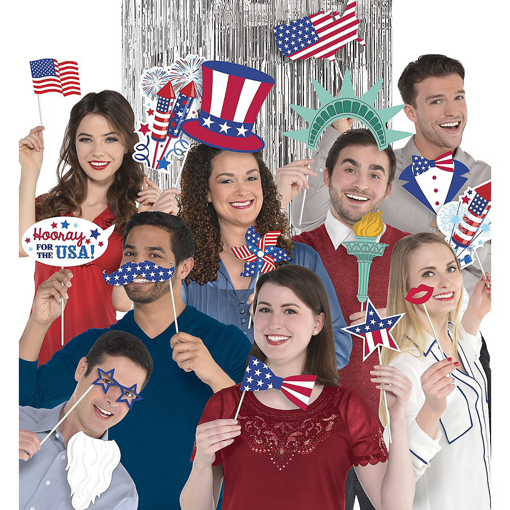 Patriotic American Flag Photo Booth Props 21ct Image #1