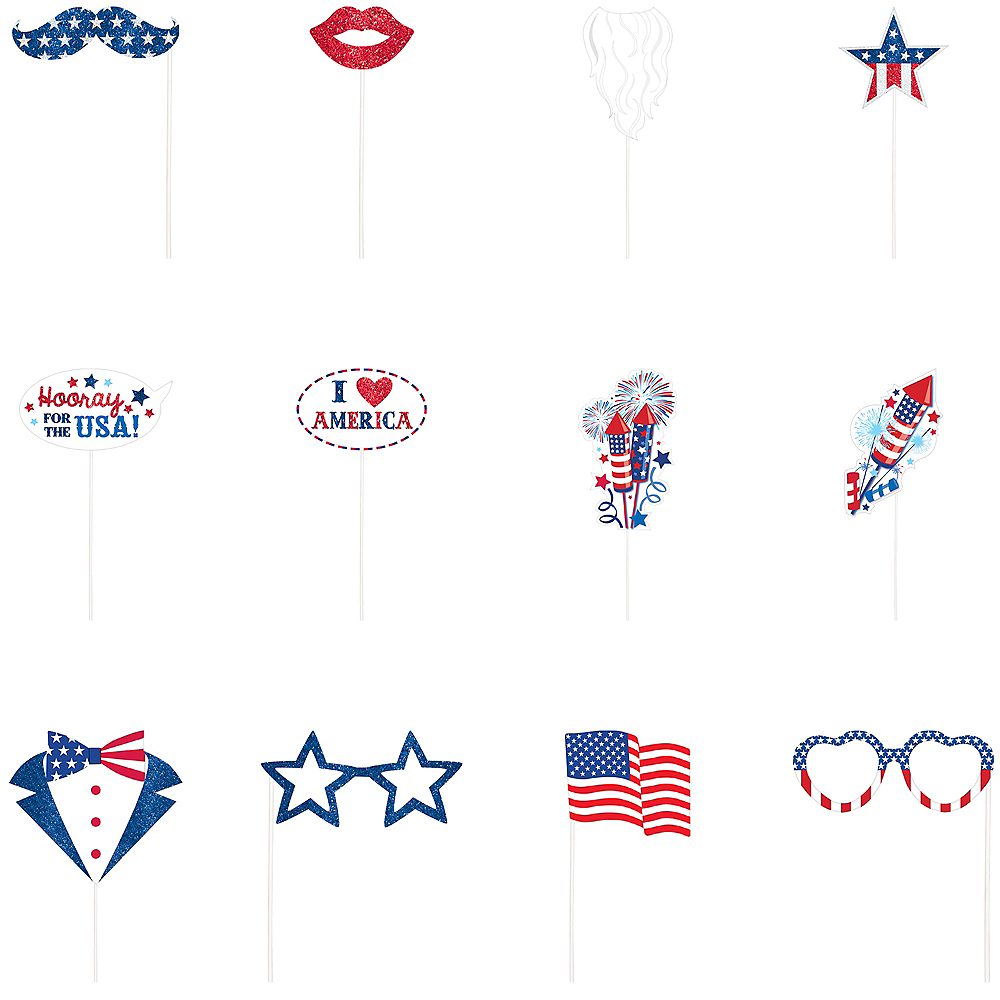 Patriotic American Flag Photo Booth Props 21ct Image #2