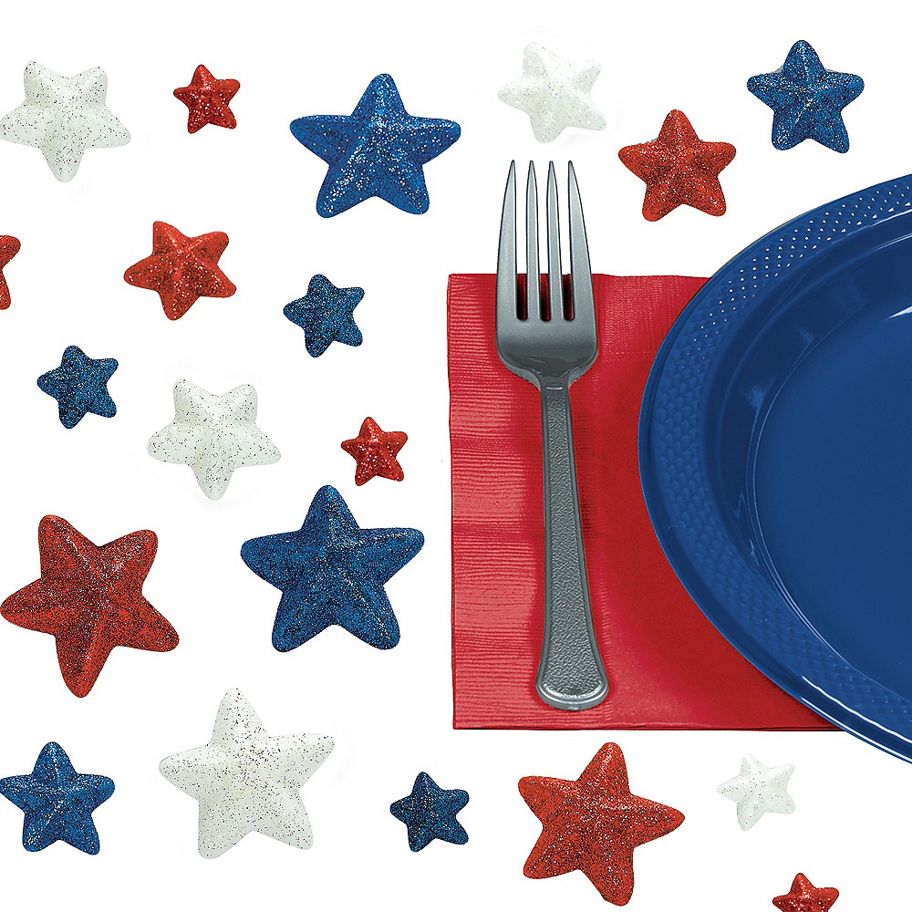 Patriotic Red, White & Blue Star Table Scatter 32ct Image #1