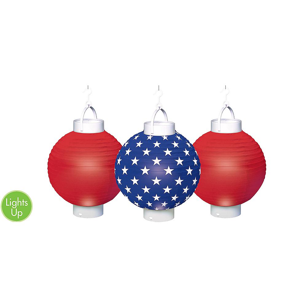 Light Up Patriotic Paper Lanterns 3ct Image 1
