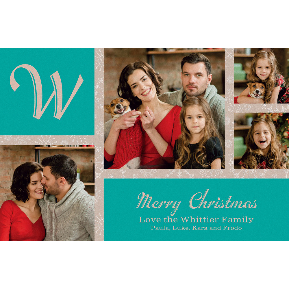 Custom Classic Green Snowflakes Collage Photo Card Image #1