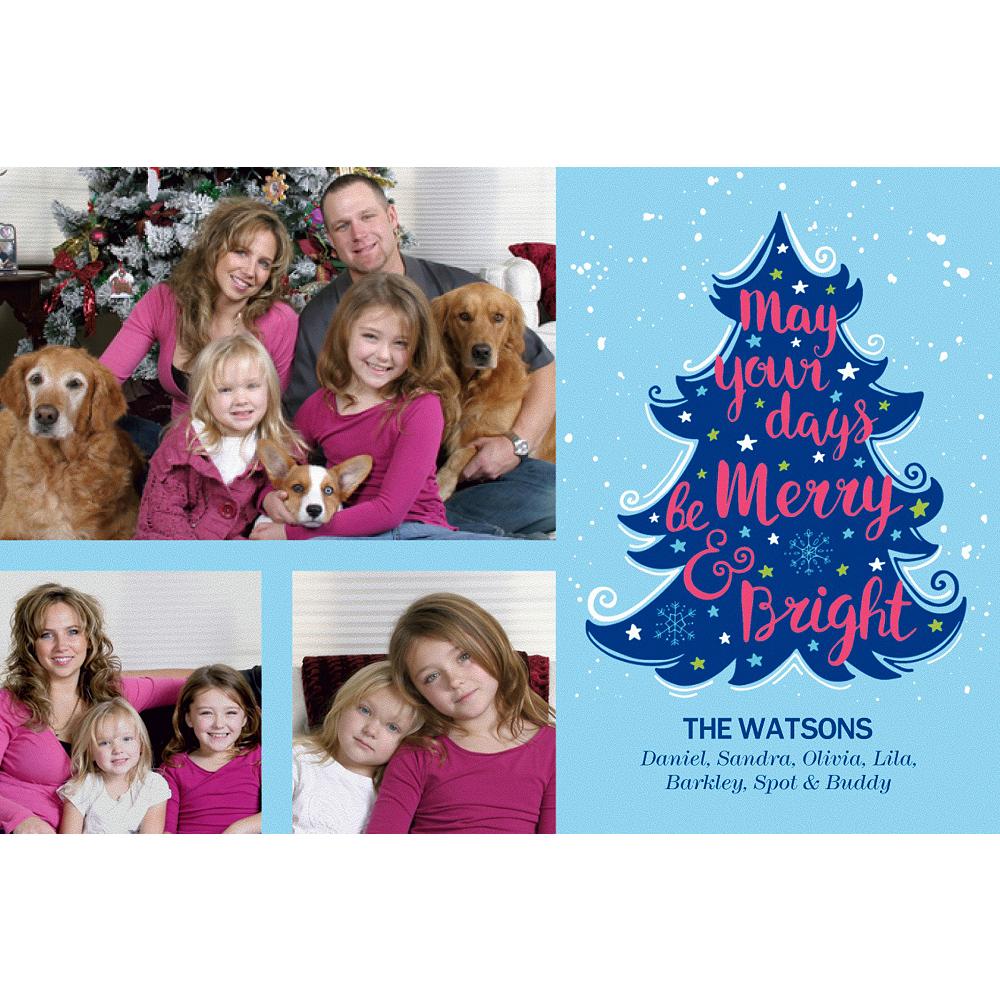 Custom Blue Tree Merry & Bright Collage Photo Card Image #1