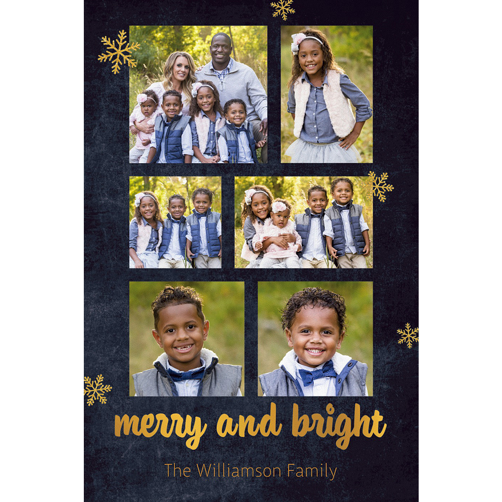 Custom Chalkboard Merry & Bright Collage Photo Card Image #1