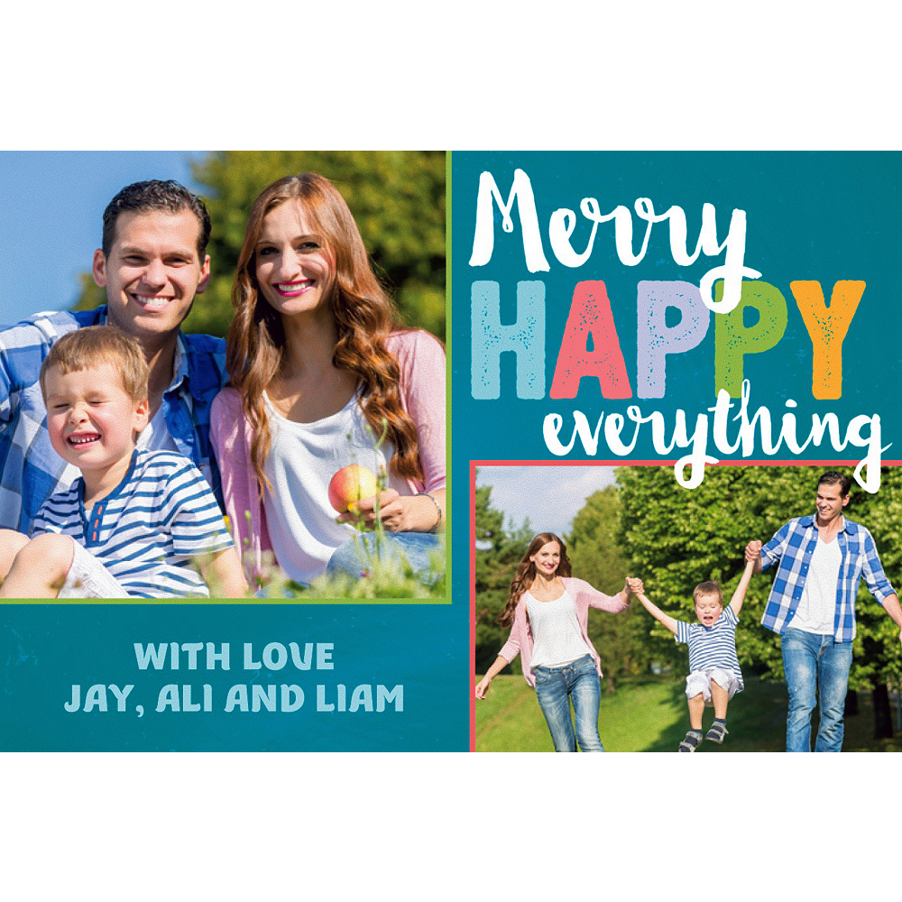 Custom Colorful Merry Everything Collage Photo Card Image #1