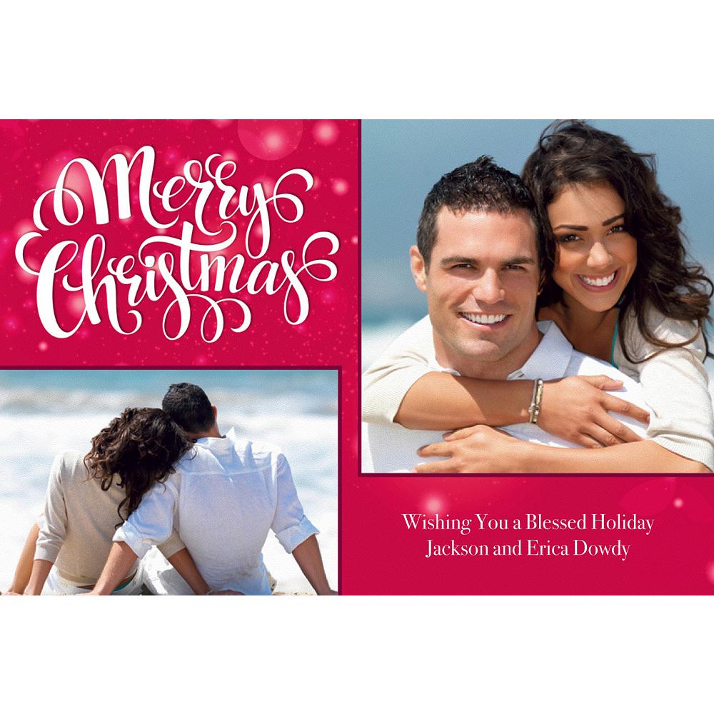Custom Scarlet Christmas Collage Photo Card Image #1