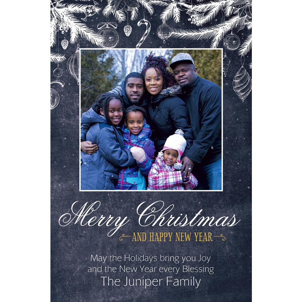 Custom Chalkboard Festive Christmas Photo Card Image #1
