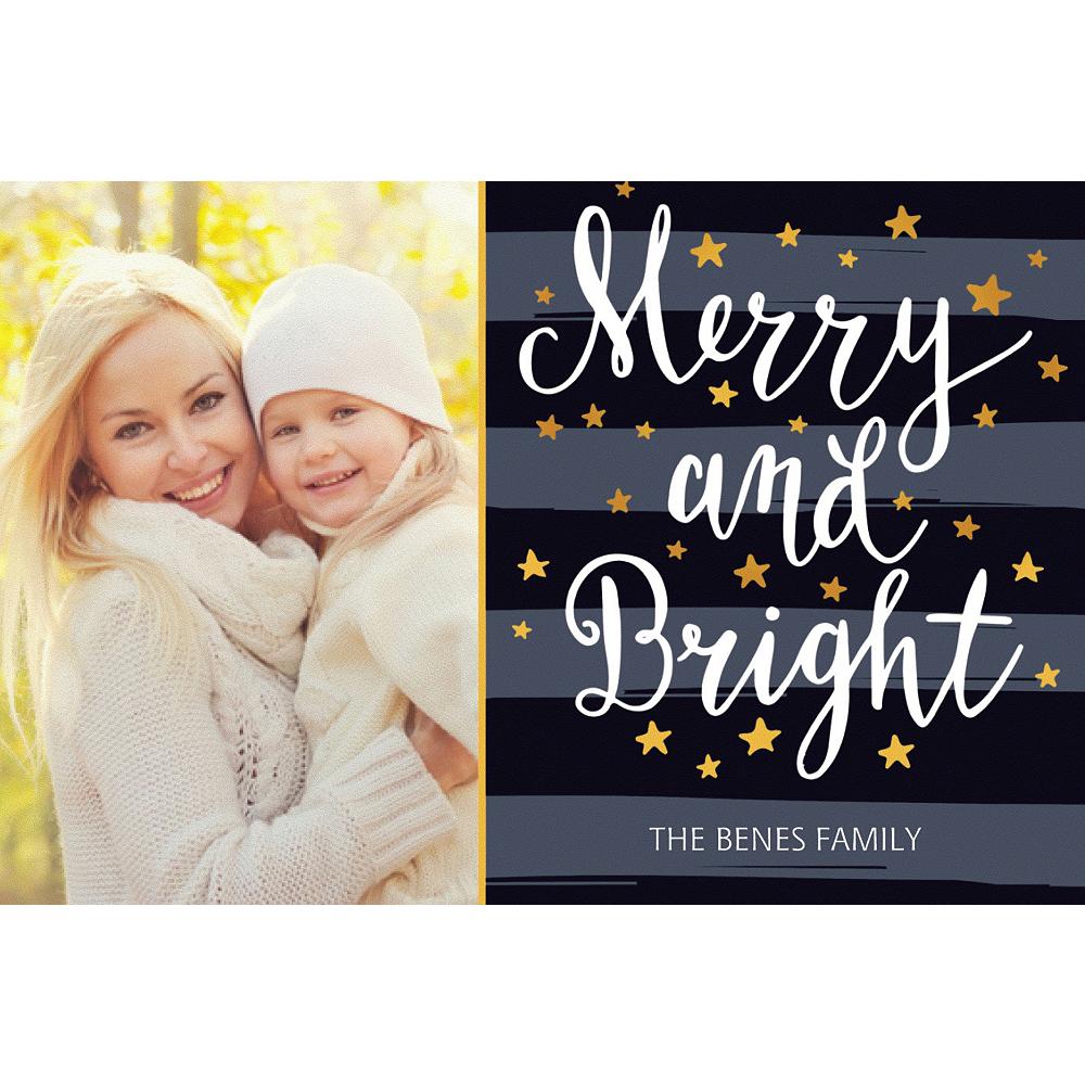 Custom Stars & Stripes Merry & Bright Photo Card Image #1