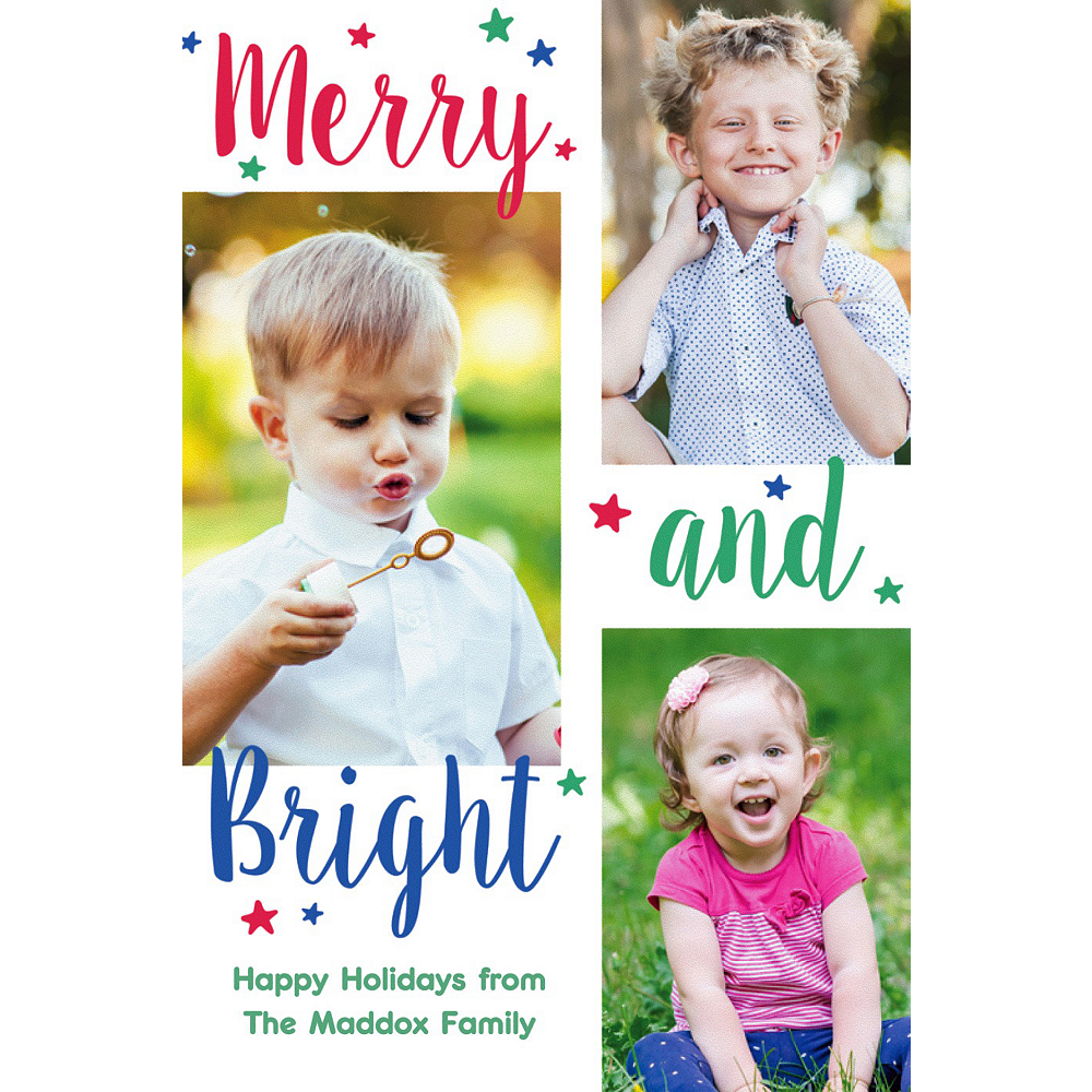 Custom Merry & Bright Collage Photo Card Image #1