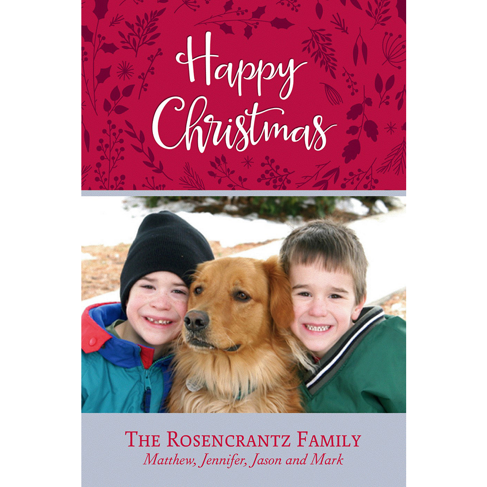 Custom Red Flora Christmas Photo Card Image #1