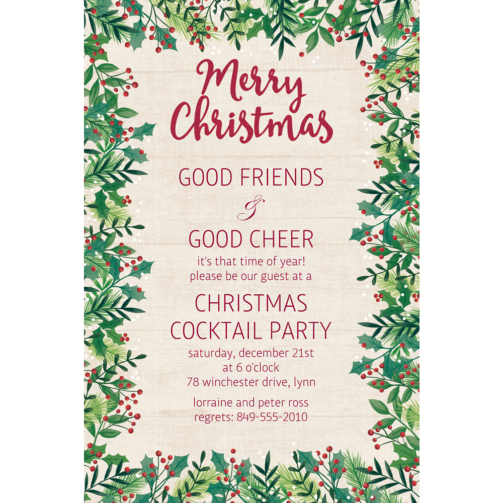 custom holly merry christmas invitation party supplies party city
