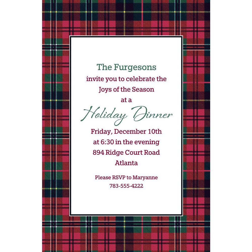 Custom Holiday Plaid Invitation Image #1