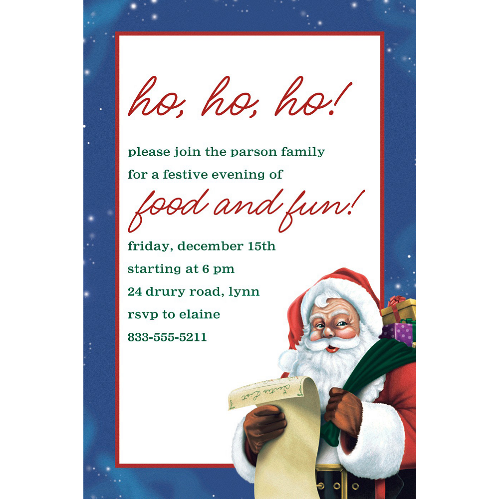 Custom Classic Santa Invitation Image #1
