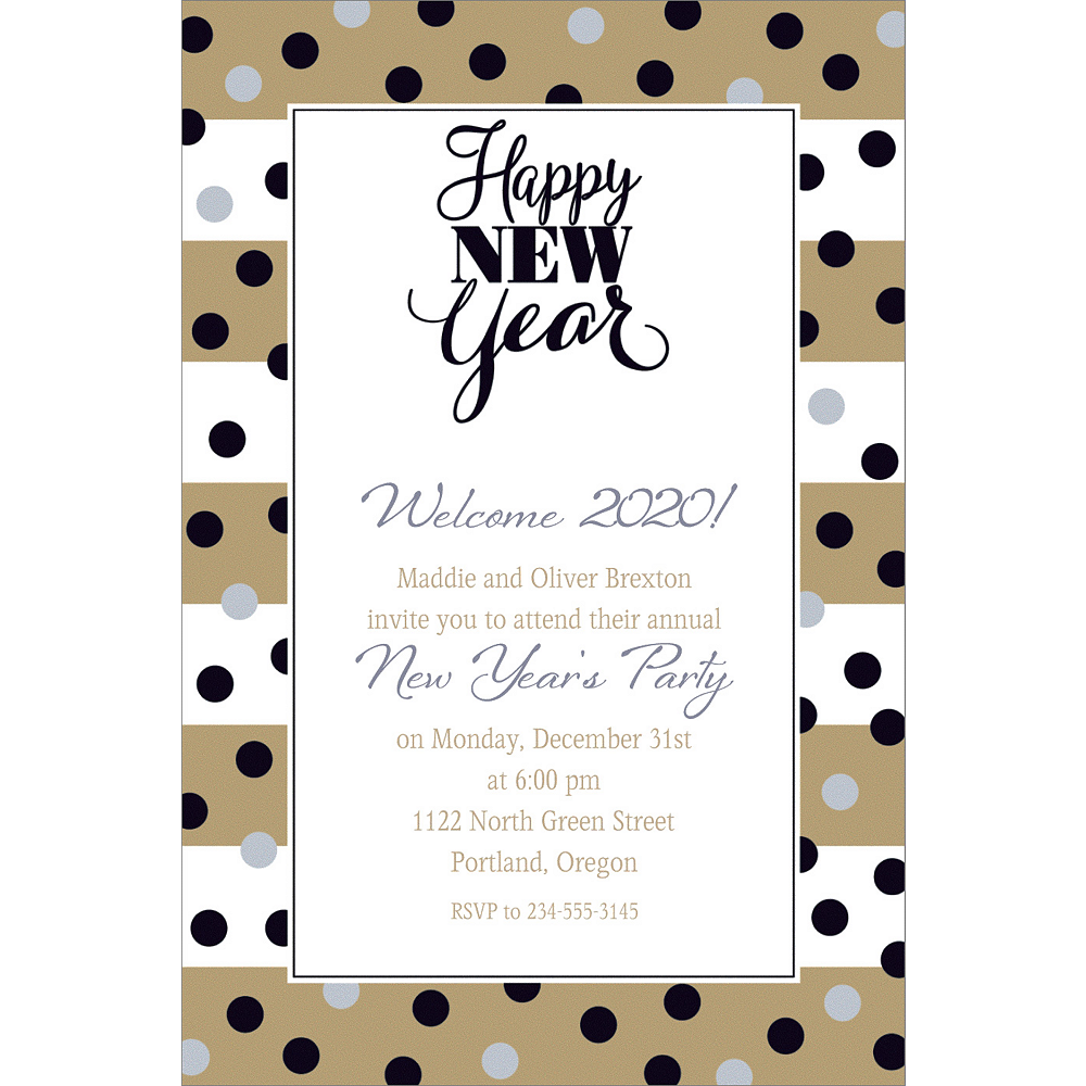 custom golden pattern new year invitation