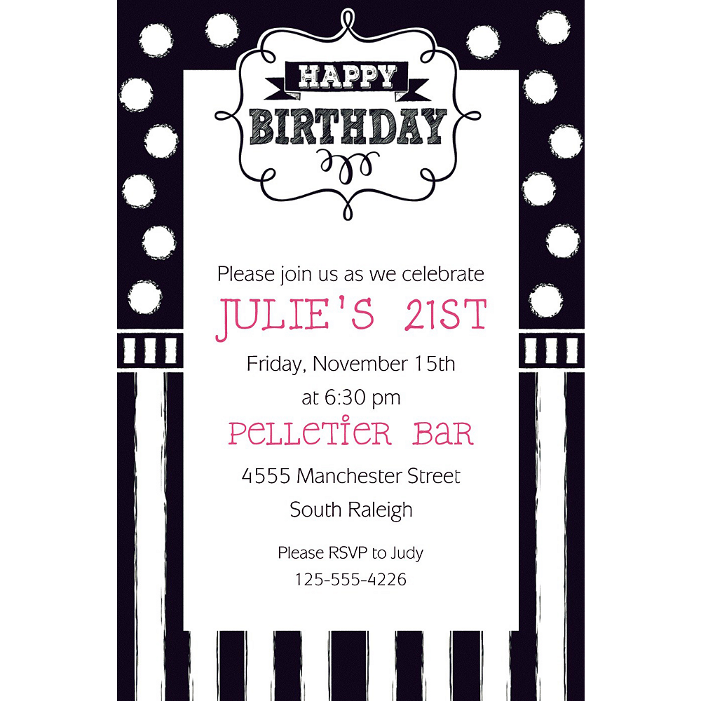 Custom Chalkboard Birthday Invitation Image 1