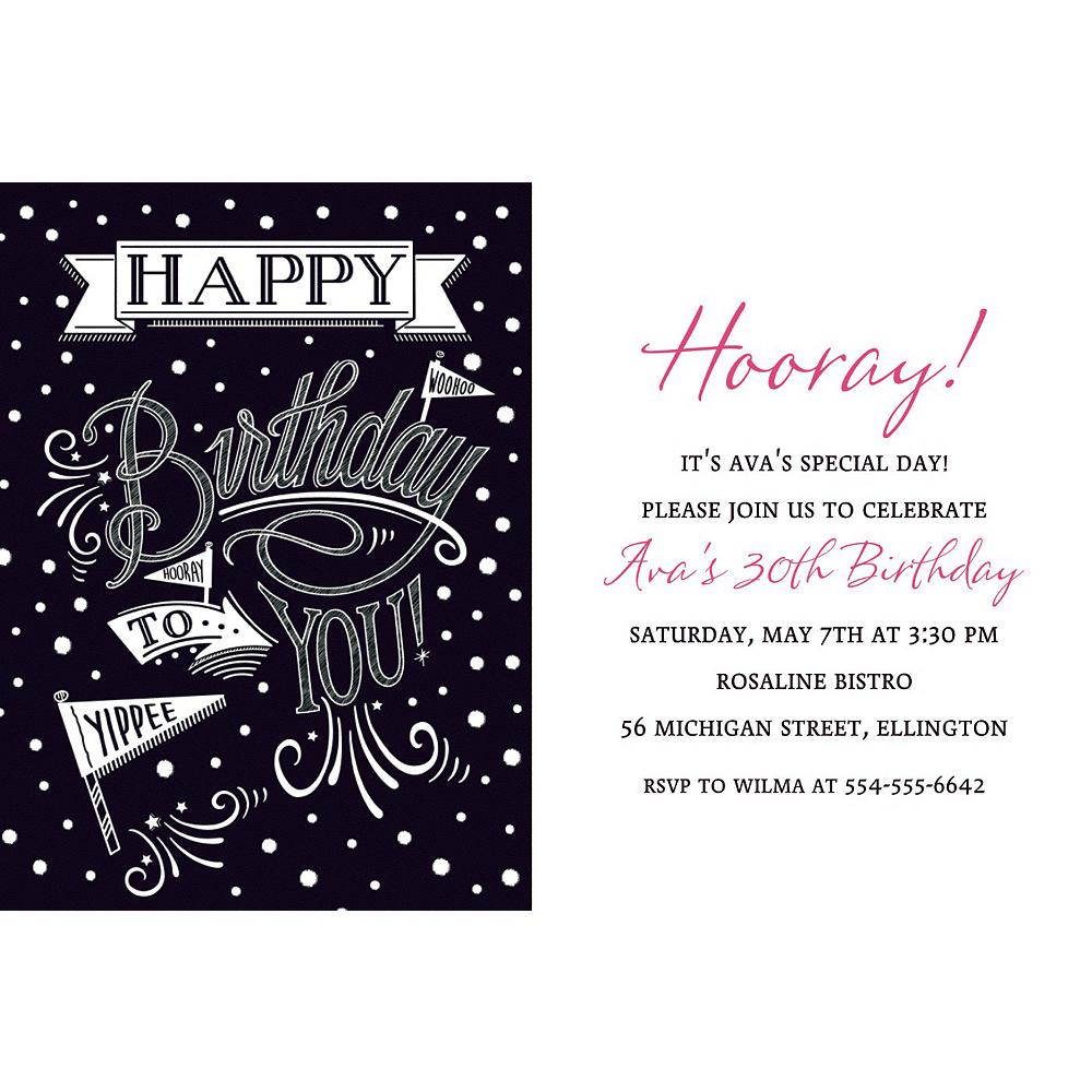 Custom Chalkboard Dots Birthday Invitation | Chalkboard Dots ...