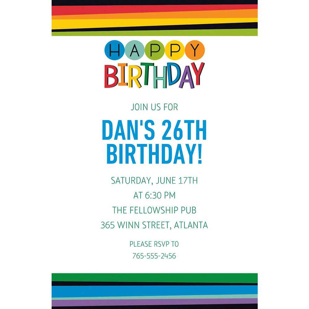 Custom Rainbow Happy Birthday Invitation Image #1