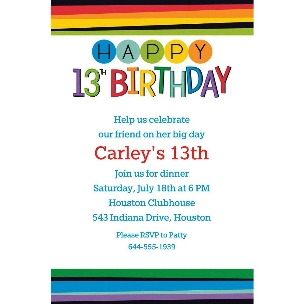 Custom Rainbow 13th Birthday Invitation | Party Supplies | Party City