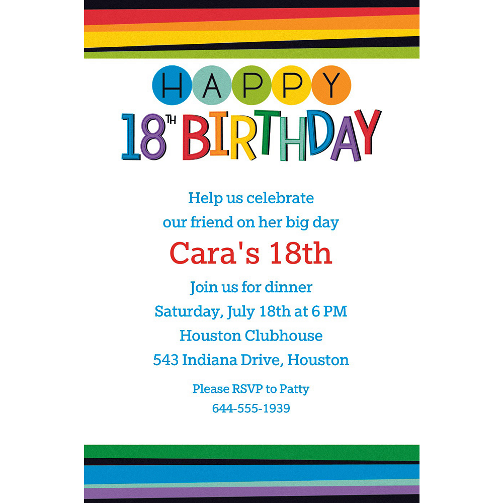 Custom Rainbow 18th Birthday Invitation | Party Supplies | Party City