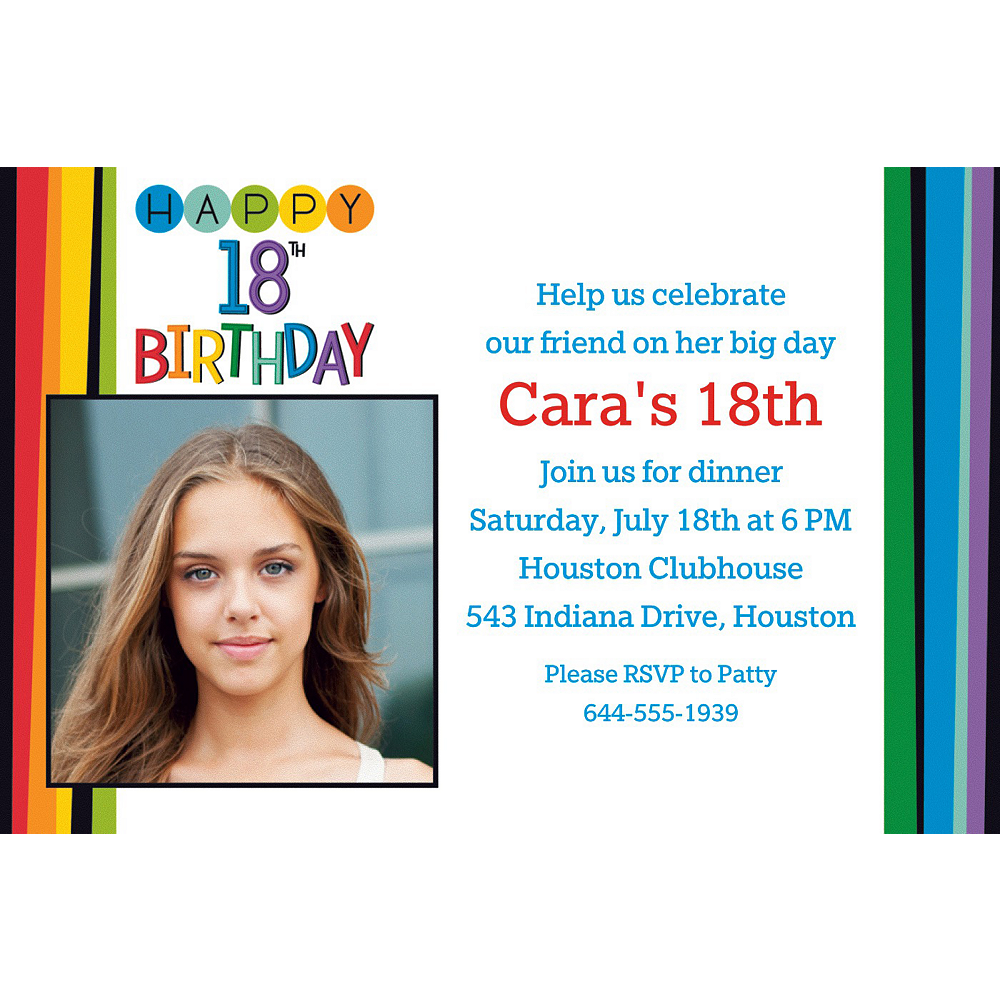 Custom Rainbow 18th Birthday Photo Invitation Image #1