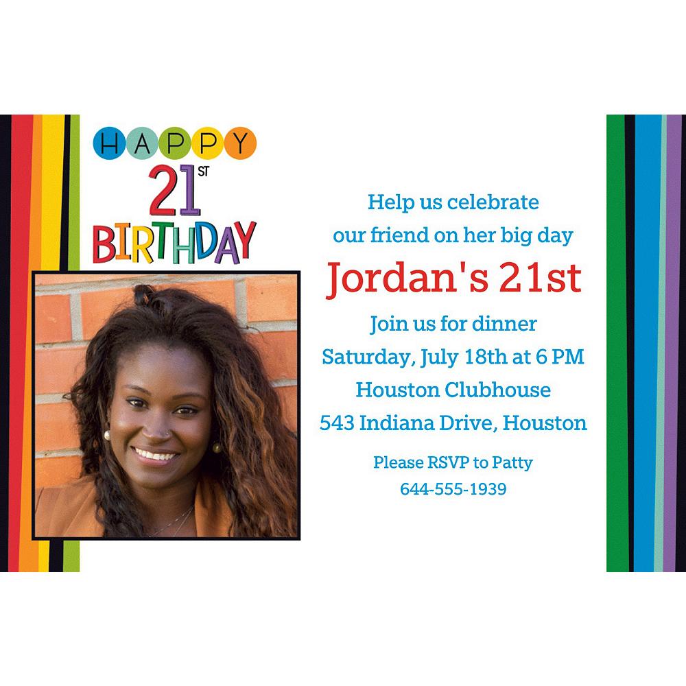 Custom Rainbow 21st Birthday Photo Invitation Image #1