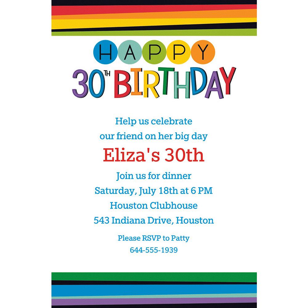 Custom Rainbow 30th Birthday Invitation Image #1