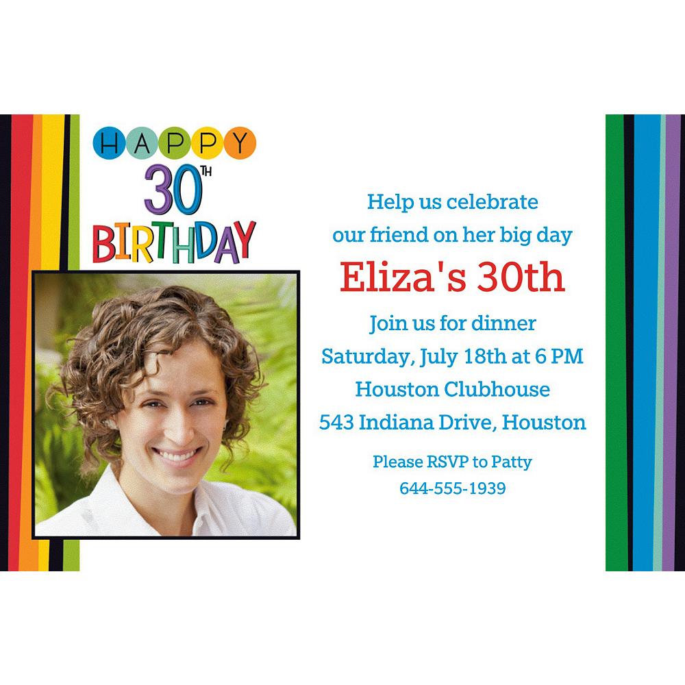 Custom Rainbow 30th Birthday Photo Invitation Image 1