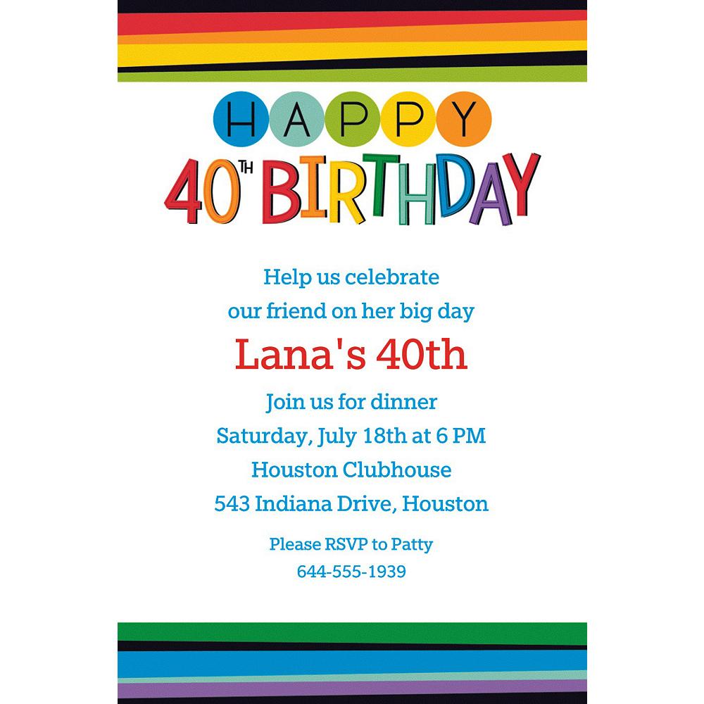 Custom rainbow 40th birthday invitation party supplies party city custom rainbow 40th birthday invitation filmwisefo