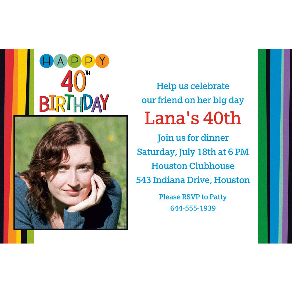 Custom Rainbow 40th Birthday Photo Invitation Image 1