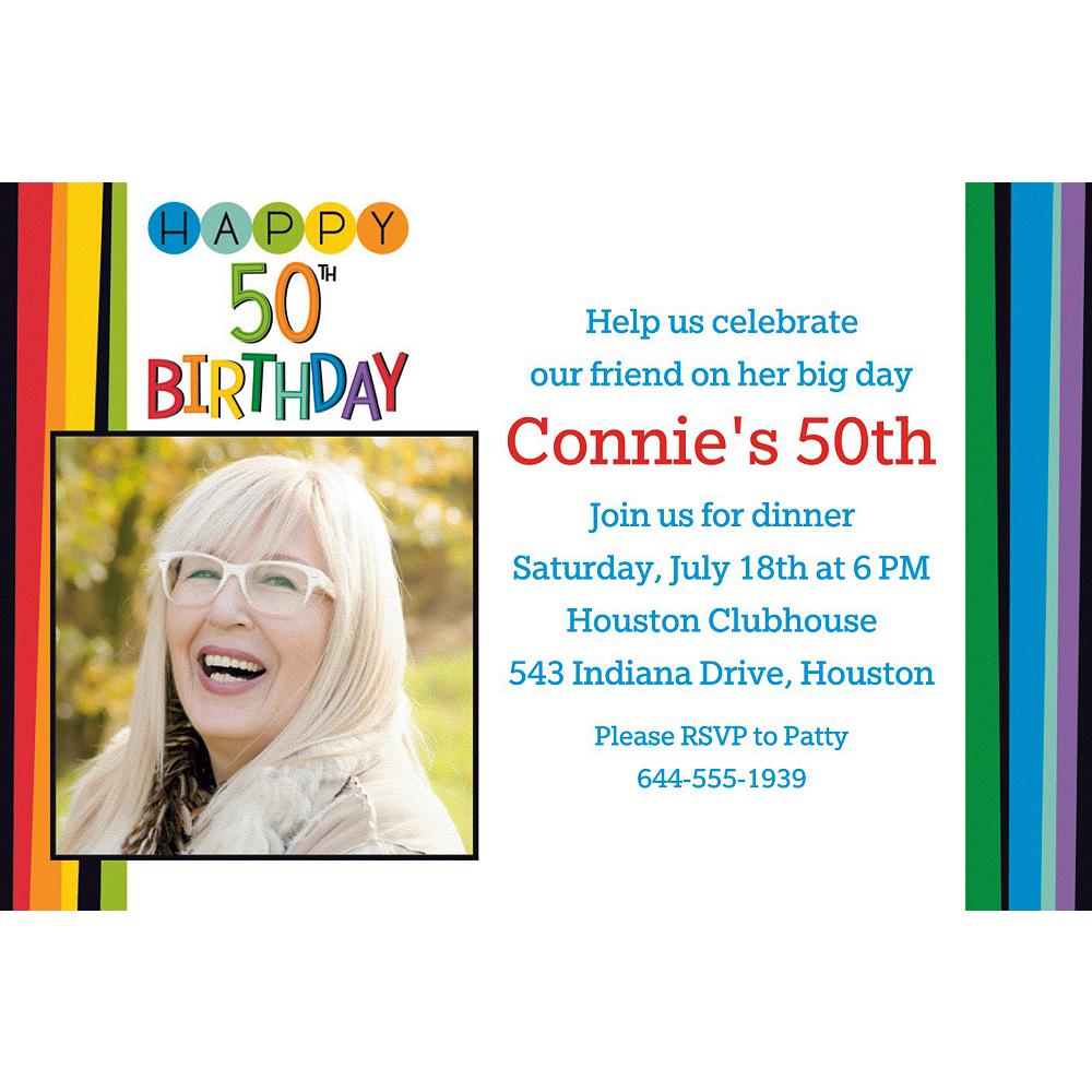 Custom Rainbow 50th Birthday Photo Invitation Image #1