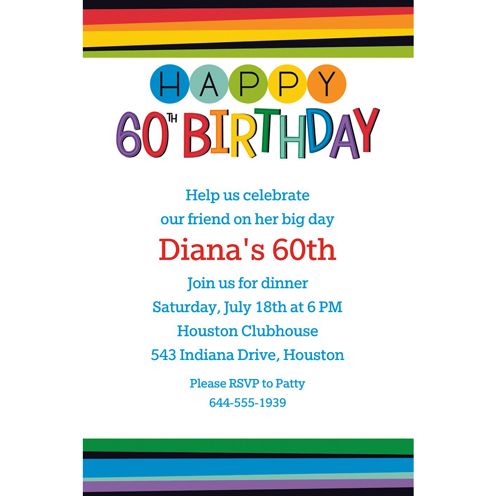 Custom Rainbow 60th Birthday Invitation Image 1