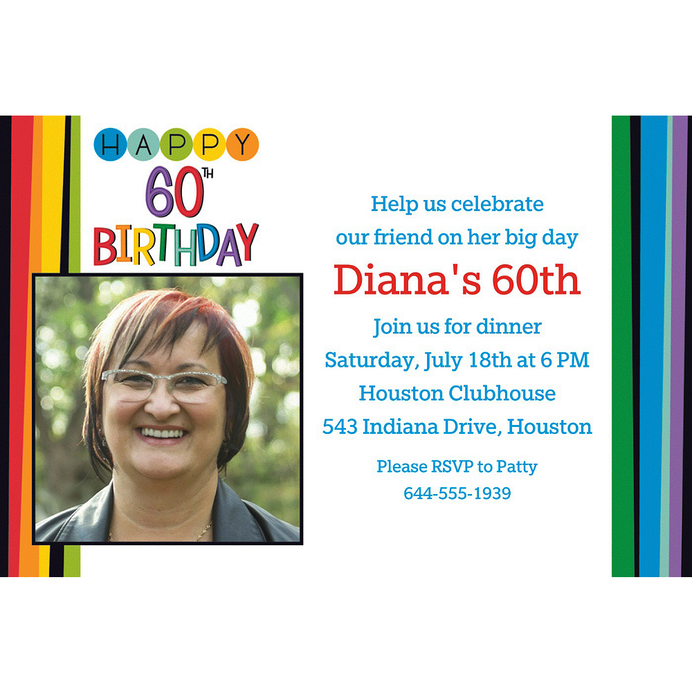 Custom Rainbow 60th Birthday Photo Invitation Image 1