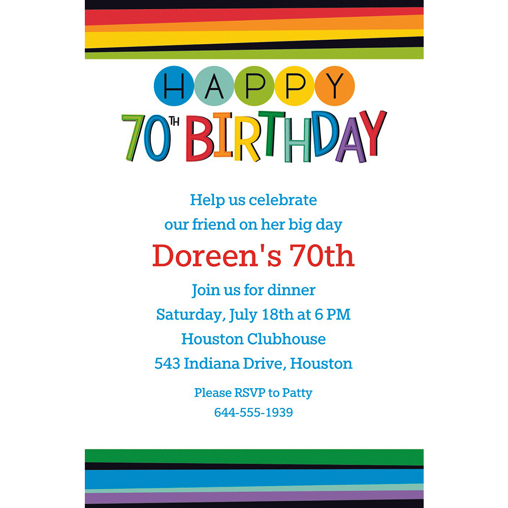 Custom Rainbow 70th Birthday Invitation