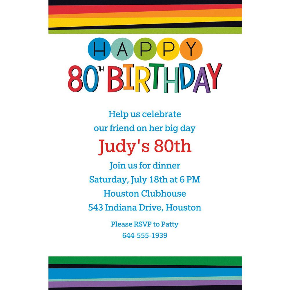 Custom Rainbow 80th Birthday Invitation Image #1