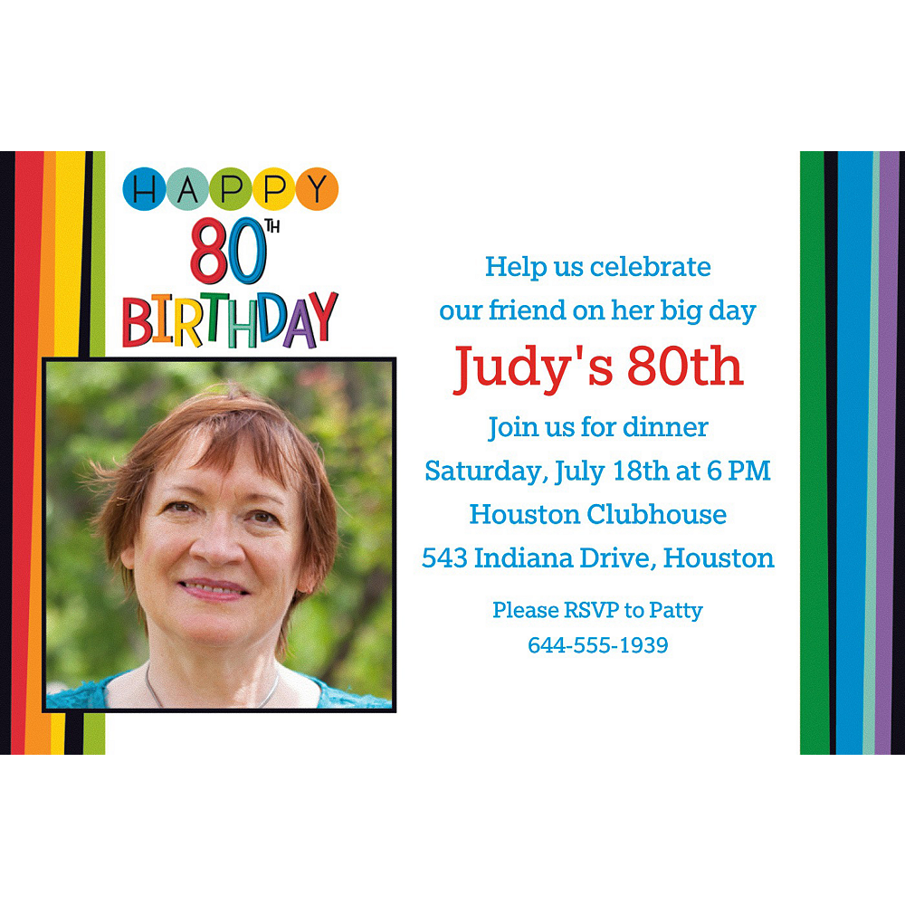 Custom Rainbow 80th Birthday Photo Invitation Image #1