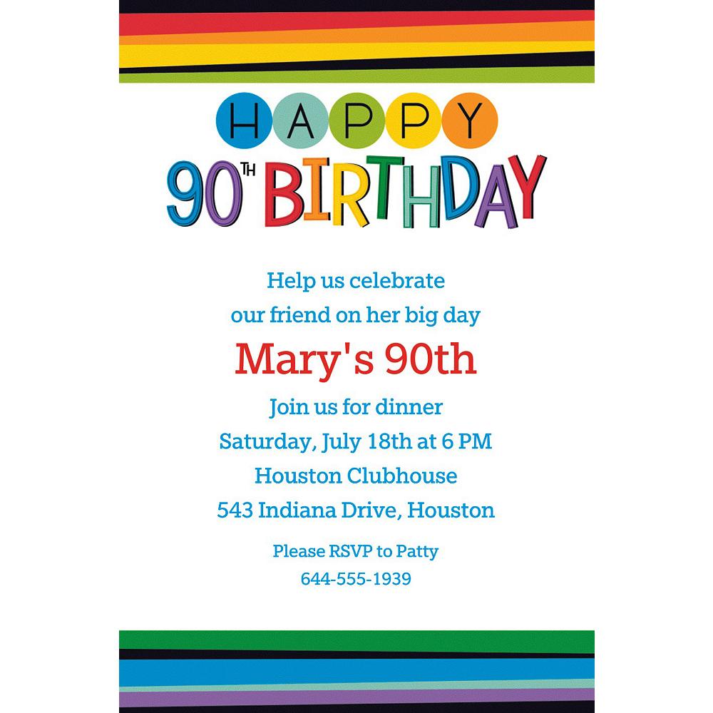 Custom Rainbow 90th Birthday Invitation | Party Supplies | Party City