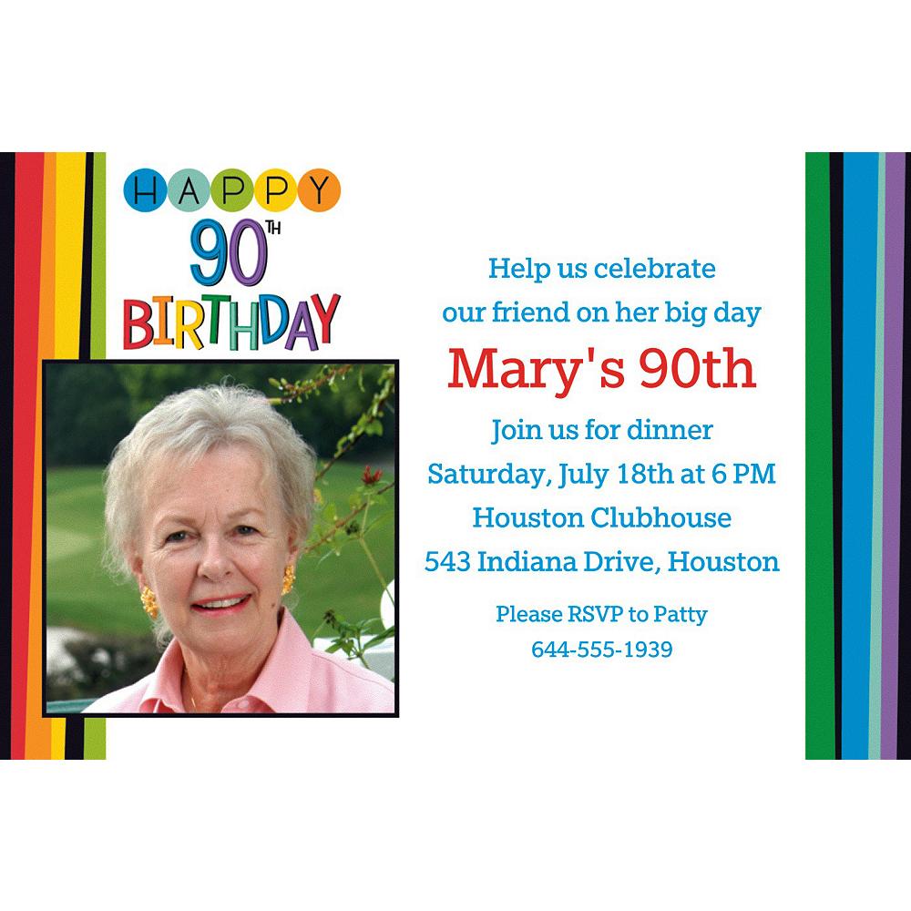 Custom Rainbow 90th Birthday Photo Invitation Image #1
