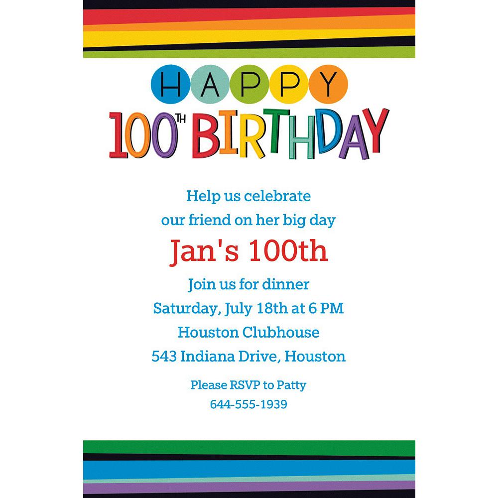 Custom Rainbow 100th Birthday Invitation Image 1