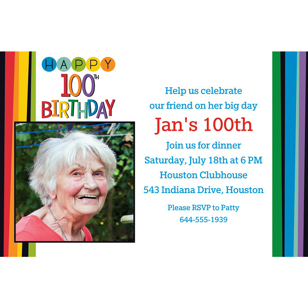 custom rainbow 100th birthday photo invitation party supplies