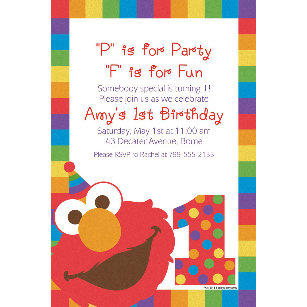 Custom Elmo 1st Birthday Invitation Image 1