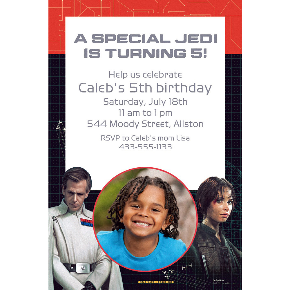 Custom Star Wars Rogue 1 Photo Invitation Image #1