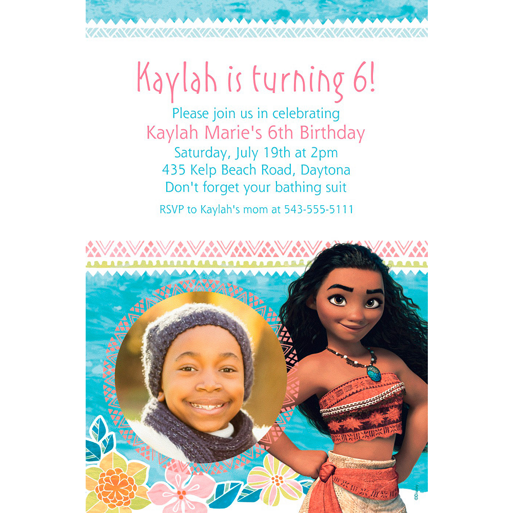Custom Moana Photo Invitation Image 1