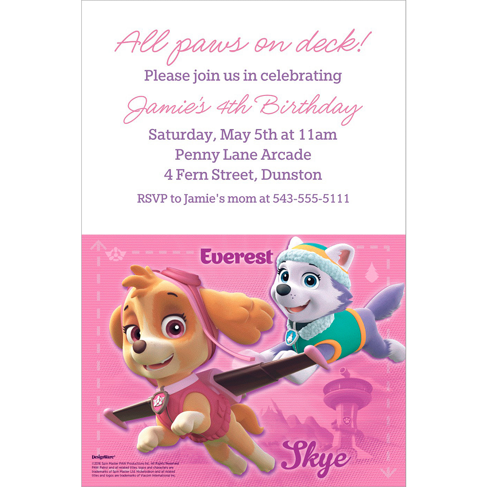 Custom Pink PAW Patrol Invitation Image 1